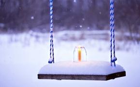 Картинка холод, зима, снег, скамейка, фон, обои, настроения, свеча, wallpaper, свечка, широкоформатные, winter, background, snow, полноэкранные, …
