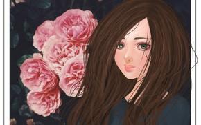 Картинка цветы, ресницы, волосы, арт, девушка. зеленые глаза