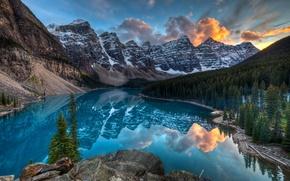 Обои горы, канада, озеро, лес