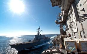Картинка солнце, океан, корабль, USS John S. McCain (DDG-56), ВМС