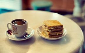 Обои кофе, печенье, хлеб, чашка, бутерброд, десерт, слодость