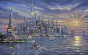 Картинка море, небо, облака, закат, здания, корабли, яхты, Нью-Йорк, вечер, арт, залив, Статуя Свободы, Robert Finale, …