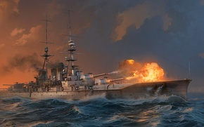 Картинка Вода, Море, Волны, Дым, Корабль, Выстрел, Линкор, Wargaming Net, WoWS, World of Warships, Мир Кораблей, …
