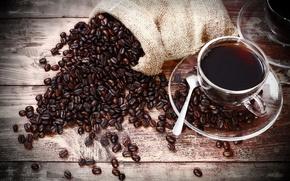 Картинка кофе, ложка, чашка, кофейные зёрна, блюдце, мешочек