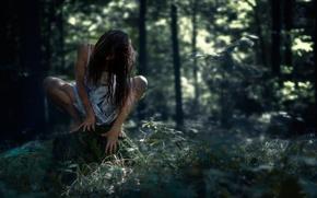 Картинка лес, девушка, пень, horror, halloween, лесная, темная, жуткая