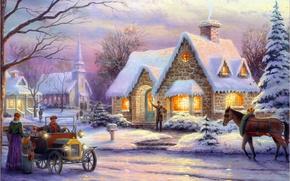 Картинка зима, машина, ретро, люди, конь, лошадь, елки, номер, Рождество, ёлка, городок, ящик, живопись, Christmas, art, ...