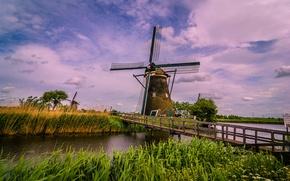 Картинка мост, река, канал, Нидерланды, ветряная мельница, Киндердейк, Киндердайк