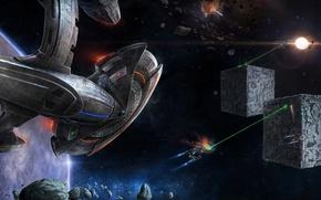 Обои кубы, корабли, лазеры, двигатели
