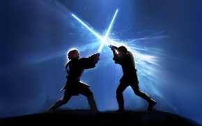 Обои звездные войны, схватка, световые мечи