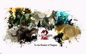 Картинка игры, воин, шлем, броня, герои, Guild Wars 2, кентавр, лучник, mmorpg