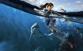 Обои яхта, вода, акула, lara croft, tomb raider underworld