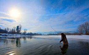 Картинка солнце, река, мороз, Зимня рыбалка