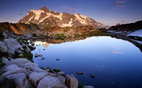 Обои горы, озеро, камни
