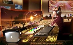 Картинка девушка, закат, аниме, наушники, экран, skyt2
