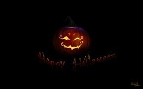 Обои надпись, черный фон, арт, праздник, тыква, Halloween