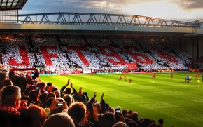 Картинка Англия, Футбол, Football, Premier League, Стадион, Stadium, Ливерпуль, Gerrard, Liverpool, Anfield, England, YNWA, Anfield Road, …