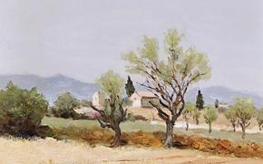 Картинка деревья, пейзаж, горы, дом, картина, Marcel Dyf, Almond Trees and the Tower of Egalieres