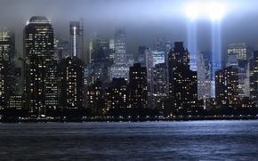 Обои мемориал, небоскребы, лучи, свет, Всемирный торговый центр, нью-йорк, WTC, World Trade Center