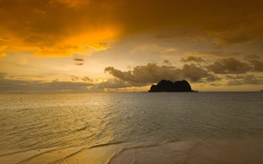 Обои море, скала, восход, природа