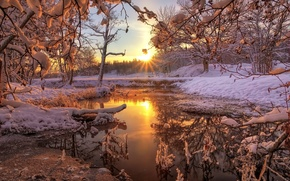 Картинка зима, лес, снег, природа, река, рассвет