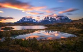 Картинка озера, Чили, Южная Америка, Патагония, горы Анды