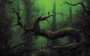 Картинка лес, деревья, человек, арт, сумерки