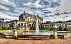 Обои облака, фонтан, HDR, дворец, palace, Дрезден, Германия, архитектура, Zwinger, солнечно