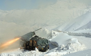 Картинка fire, flame, mountains, snow, truck, M2 Browning, yuki, spark, shooting, suspension 6x6 or 8 × ...