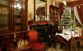 Картинка фото, праздник, елка, стулья, рождество, интерьер, бокалы, Новый год, камин, столик, графин