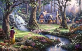 Картинка деревья, цветы, мост, замок, водопад, сказка, вечер, арт, домик, fantasy, sunshine, речка, олени, принцесса, bridge, …