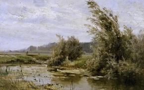 Картинка деревья, природа, картина, Карлос де Хаэс, Пейзаж с Прудом