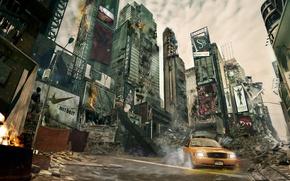 Обои небоскрёбы, Нью-Йорк, апокалипсис, такси, разруха