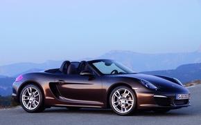 Картинка дорога, пейзаж, Porsche, кабриолет, boxster
