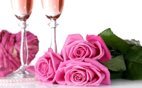 Картинка розы, бутоны, День Святого Валентина, фужеры