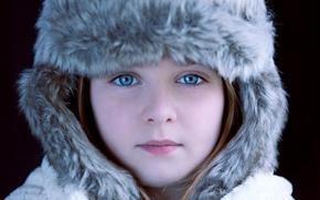 Картинка фото, шапка, девочка, голубоглазая