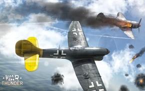 Картинка небо, облака, истребитель, Арт, британский, поршневой, War Thunder, ВВС Британии, Tempest Mk V