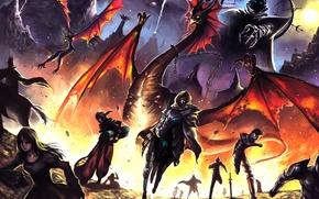 Картинка дракон, крылья, арт, демон, фантастика, цепь, огонь