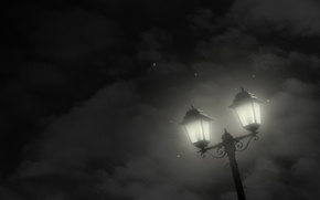 Картинка звезды, облака, ночь, минимализм, Фонарь