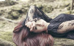 Картинка girl, dress, hair, direct gaze