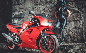 Картинка Girl, Red, Model, Wheels, Brake, Hair, Motocycle, Points, Tight Clothing