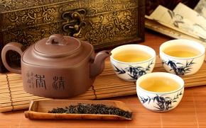 Картинка чай, чайник, веер, чаепитие, чашки, иероглифы, шкатулка, заварка, циновка