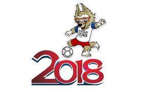 Картинка ЧМ 2018, забивака, символ чм 2018, волк-футболист, Чемпионат мира по футболу в России 2018