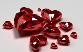 Картинка красный, бриллианты, стекло, праздник, обои от lolita777, день святого валентина, украшения, сердечки, алмазы, сердца, огранка, …