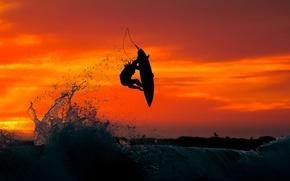 Картинка sea, sunset, jump, water, surfing
