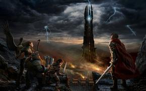 Обои оружие, молнии, властелин колец, rise of isengard, мордор, воин, гном, хоббит, the lord of the ...