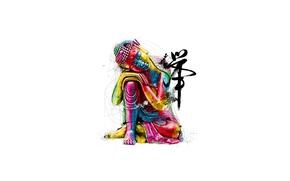Картинка краски, иероглиф, будда, умиротворение