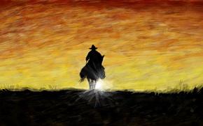 Картинка закат, штрихи, арт, ковбой, мазки