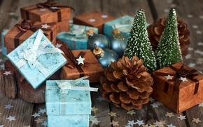 Картинка праздник, подарки, шишки, конфетти