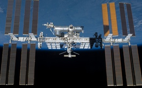 Картинка earth, space, ISS, cosmos, International Space Station, orbit, solar, artificial satellite