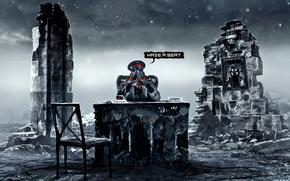 Картинка стол, портрет, арт, стул, противогаз, капитан, руины, романтика апокалипсиса, romantically apocalyptic, alexiuss